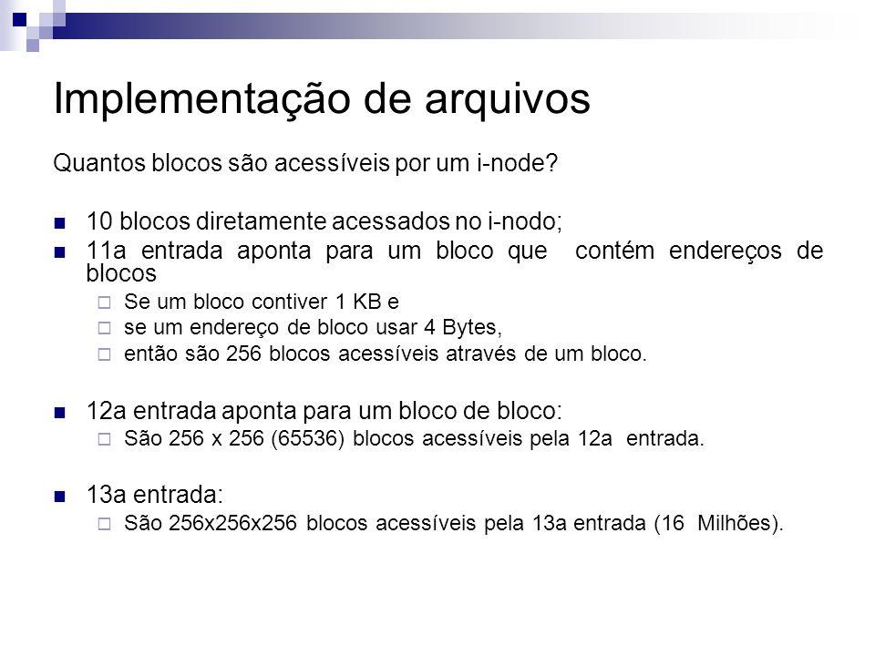 Implementação de arquivos Quantos blocos são acessíveis por um i-node.