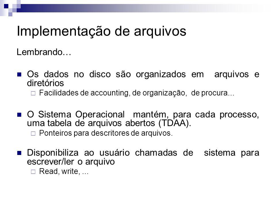 Implementação de arquivos Lembrando… Os dados no disco são organizados em arquivos e diretórios Facilidades de accounting, de organização, de procura...