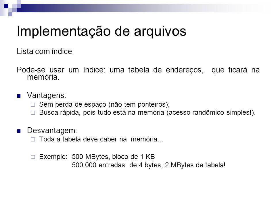 Implementação de arquivos Lista com índice Pode-se usar um índice: uma tabela de endereços, que ficará na memória.