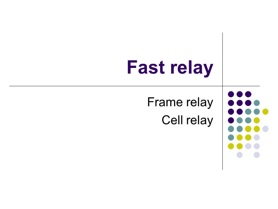 Fast relay Frame relay Cell relay
