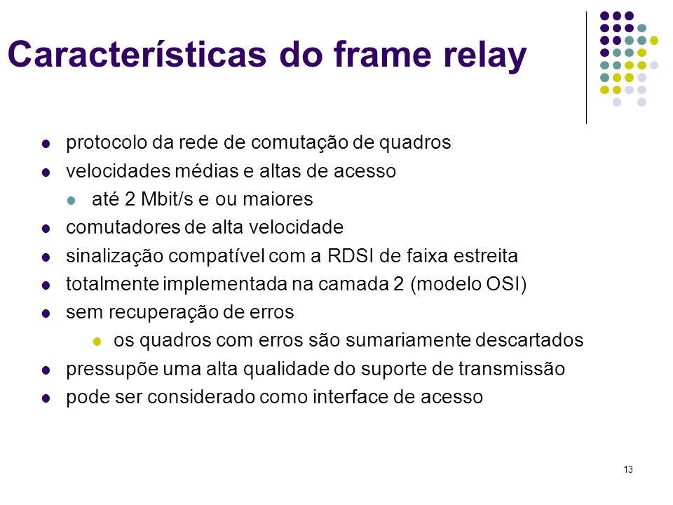 13 Características do frame relay protocolo da rede de comutação de quadros velocidades médias e altas de acesso até 2 Mbit/s e ou maiores comutadores