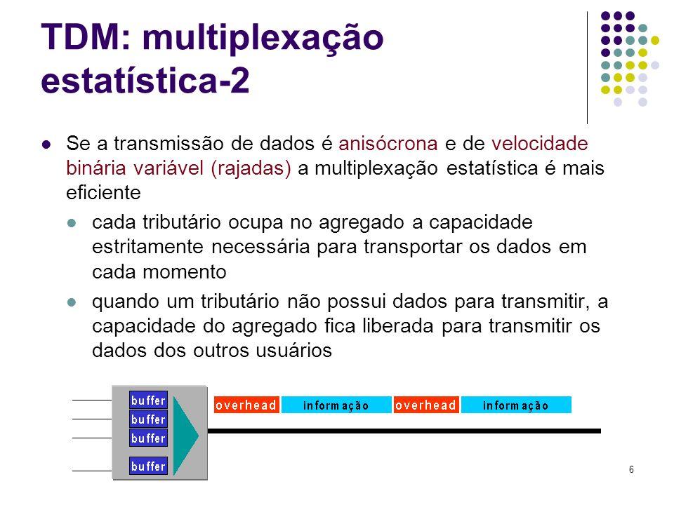 6 TDM: multiplexação estatística-2 Se a transmissão de dados é anisócrona e de velocidade binária variável (rajadas) a multiplexação estatística é mai