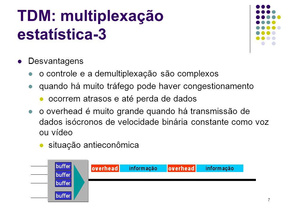 7 TDM: multiplexação estatística-3 Desvantagens o controle e a demultiplexação são complexos quando há muito tráfego pode haver congestionamento ocorr