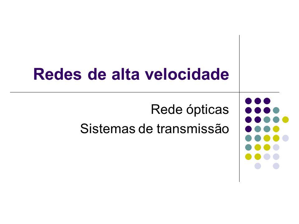 Redes ópticas Estrutura As redes óticas são formadas por alguns componentes básicos, dentre eles, podemos citar: o transmissor ótico o receptor ótico a fibra ótica Amplificadores de linha.