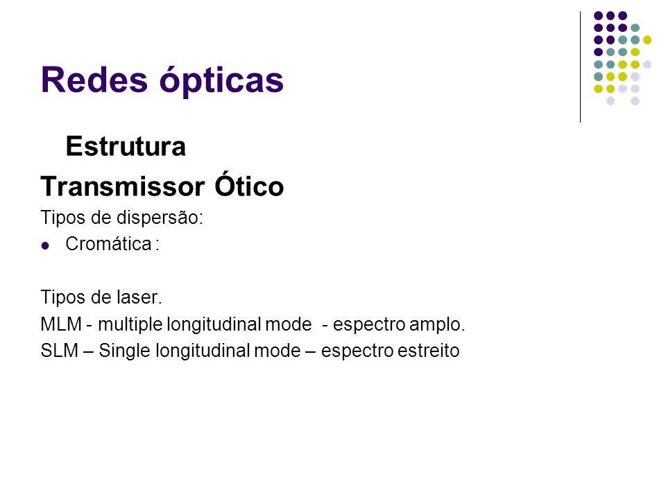 Redes ópticas Estrutura Transmissor Ótico Tipos de dispersão: Cromática : Tipos de laser. MLM - multiple longitudinal mode - espectro amplo. SLM – Sin