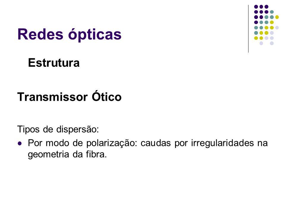 Redes ópticas Estrutura Transmissor Ótico Tipos de dispersão: Por modo de polarização: caudas por irregularidades na geometria da fibra.