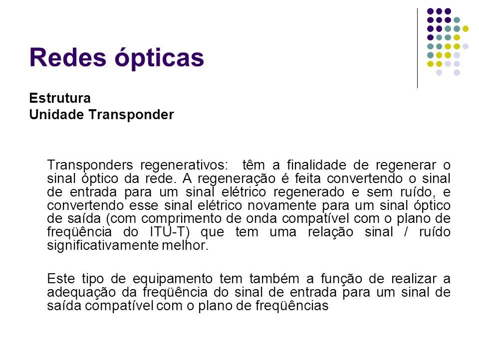 Redes ópticas Estrutura Unidade Transponder Transponders regenerativos: têm a finalidade de regenerar o sinal óptico da rede. A regeneração é feita co