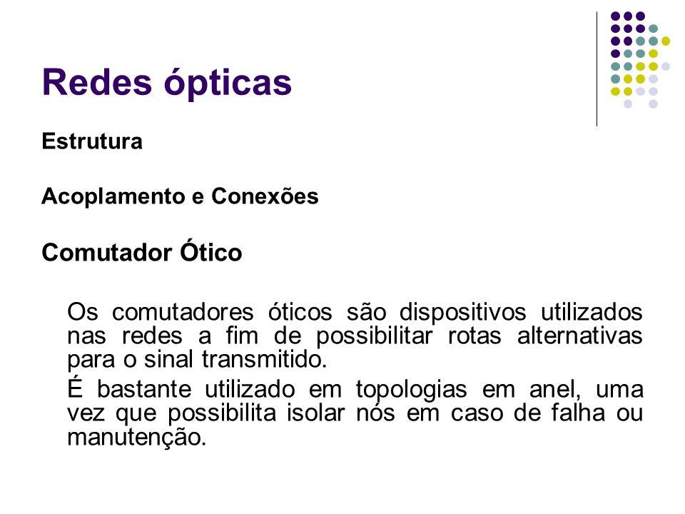 Redes ópticas Estrutura Acoplamento e Conexões Comutador Ótico Os comutadores óticos são dispositivos utilizados nas redes a fim de possibilitar rotas