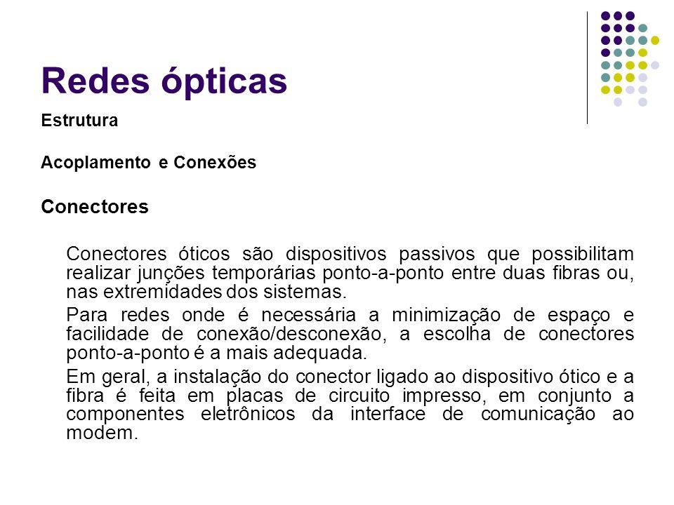 Redes ópticas Estrutura Acoplamento e Conexões Conectores Conectores óticos são dispositivos passivos que possibilitam realizar junções temporárias po