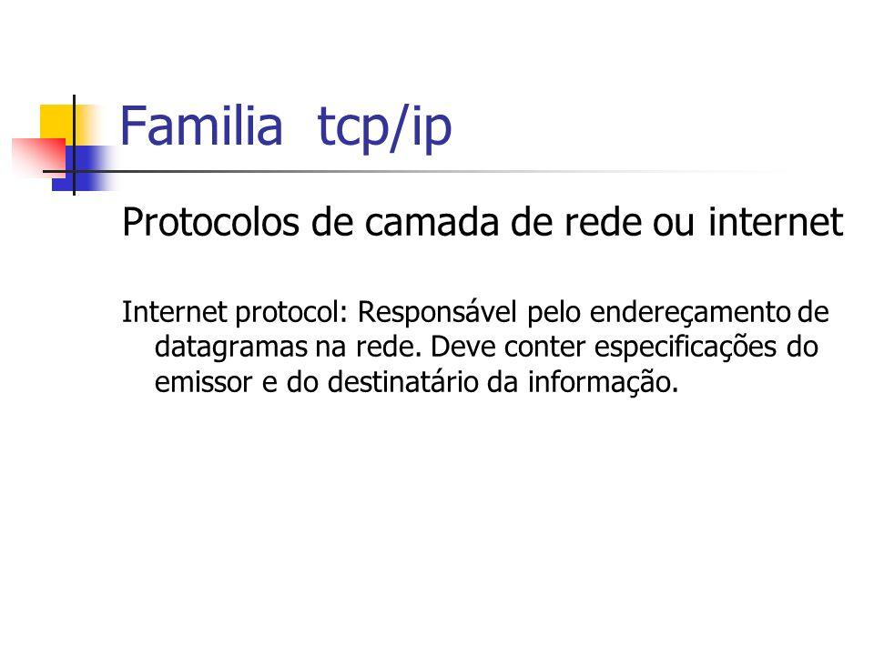 Familia tcp/ip Protocolos de camada de rede ou internet Internet protocol: Responsável pelo endereçamento de datagramas na rede. Deve conter especific