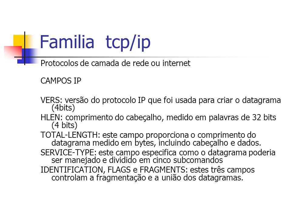 Familia tcp/ip Protocolos de camada de rede ou internet CAMPOS IP VERS: versão do protocolo IP que foi usada para criar o datagrama (4bits) HLEN: comp