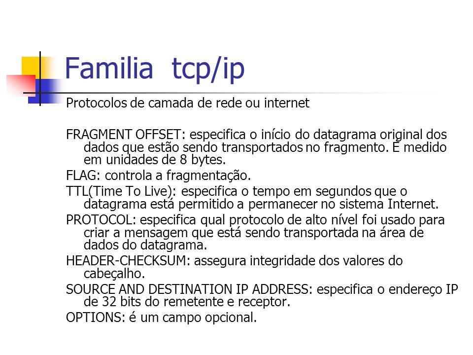 Familia tcp/ip Protocolos de camada de rede ou internet FRAGMENT OFFSET: especifica o início do datagrama original dos dados que estão sendo transport