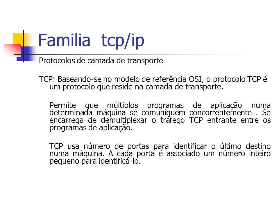 Familia tcp/ip Protocolos de camada de transporte TCP: Baseando-se no modelo de referência OSI, o protocolo TCP é um protocolo que reside na camada de