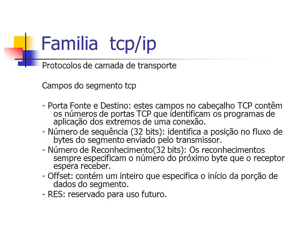 Familia tcp/ip Protocolos de camada de transporte Campos do segmento tcp - Porta Fonte e Destino: estes campos no cabeçalho TCP contêm os números de p