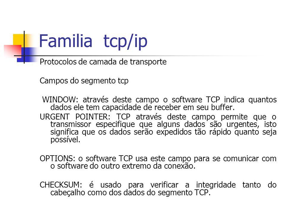 Familia tcp/ip Protocolos de camada de transporte Campos do segmento tcp WINDOW: através deste campo o software TCP indica quantos dados ele tem capac