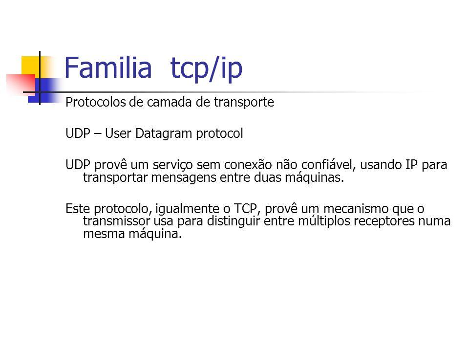 Familia tcp/ip Protocolos de camada de transporte UDP – User Datagram protocol UDP provê um serviço sem conexão não confiável, usando IP para transpor