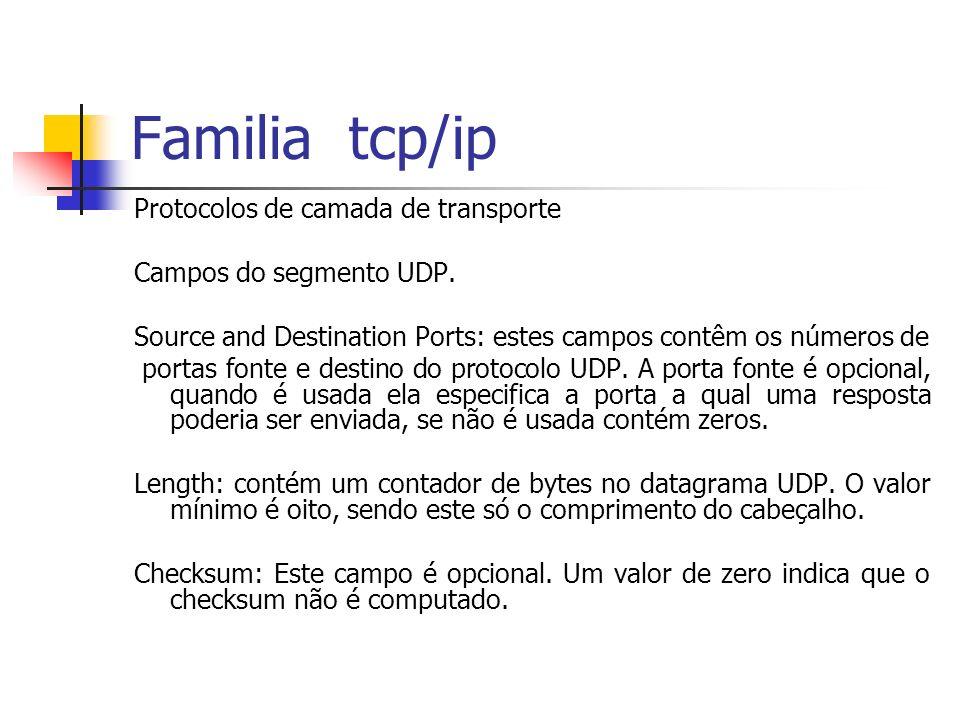 Familia tcp/ip Protocolos de camada de transporte Campos do segmento UDP. Source and Destination Ports: estes campos contêm os números de portas fonte