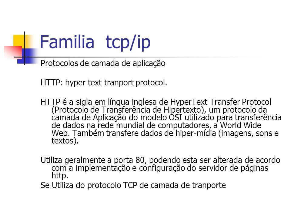 Familia tcp/ip Protocolos de camada de aplicação HTTP: hyper text tranport protocol. HTTP é a sigla em língua inglesa de HyperText Transfer Protocol (
