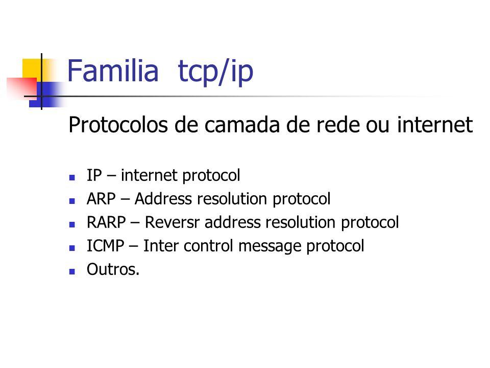 Familia tcp/ip Protocolos de camada de rede ou internet IP – internet protocol ARP – Address resolution protocol RARP – Reversr address resolution pro