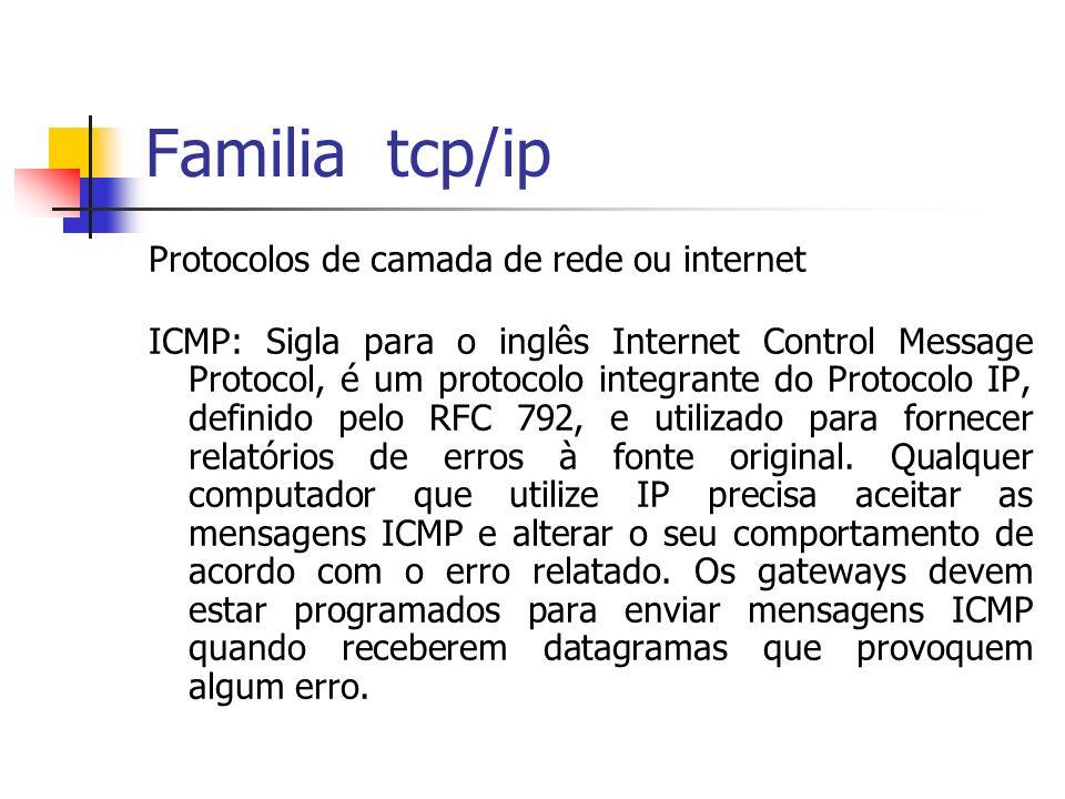 Familia tcp/ip Protocolos de camada de rede ou internet ICMP: Sigla para o inglês Internet Control Message Protocol, é um protocolo integrante do Prot