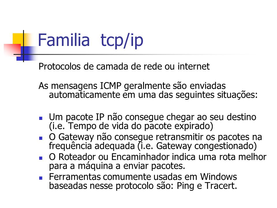 Familia tcp/ip Protocolos de camada de rede ou internet As mensagens ICMP geralmente são enviadas automaticamente em uma das seguintes situações: Um p