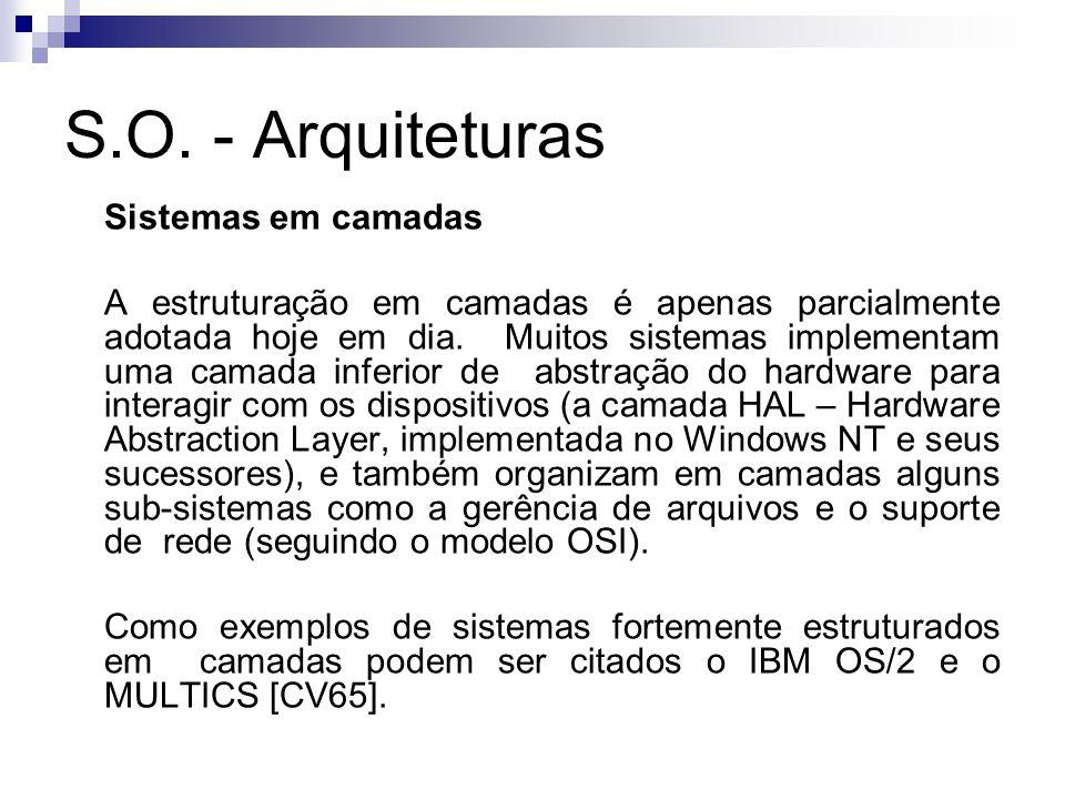 S.O. - Arquiteturas Sistemas em camadas A estruturação em camadas é apenas parcialmente adotada hoje em dia. Muitos sistemas implementam uma camada in