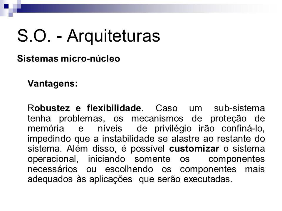 S.O. - Arquiteturas Sistemas micro-núcleo Vantagens: Robustez e flexibilidade. Caso um sub-sistema tenha problemas, os mecanismos de proteção de memór