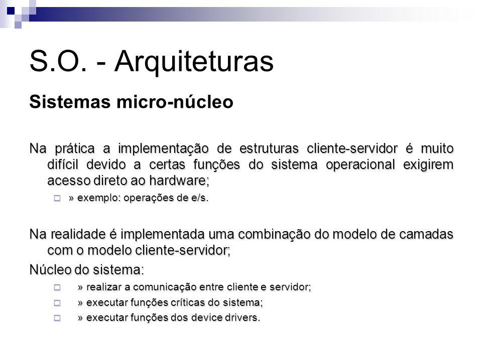 S.O. - Arquiteturas Sistemas micro-núcleo Na prática a implementação de estruturas cliente-servidor é muito difícil devido a certas funções do sistema