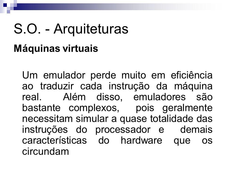 S.O. - Arquiteturas Máquinas virtuais Um emulador perde muito em eficiência ao traduzir cada instrução da máquina real. Além disso, emuladores são bas