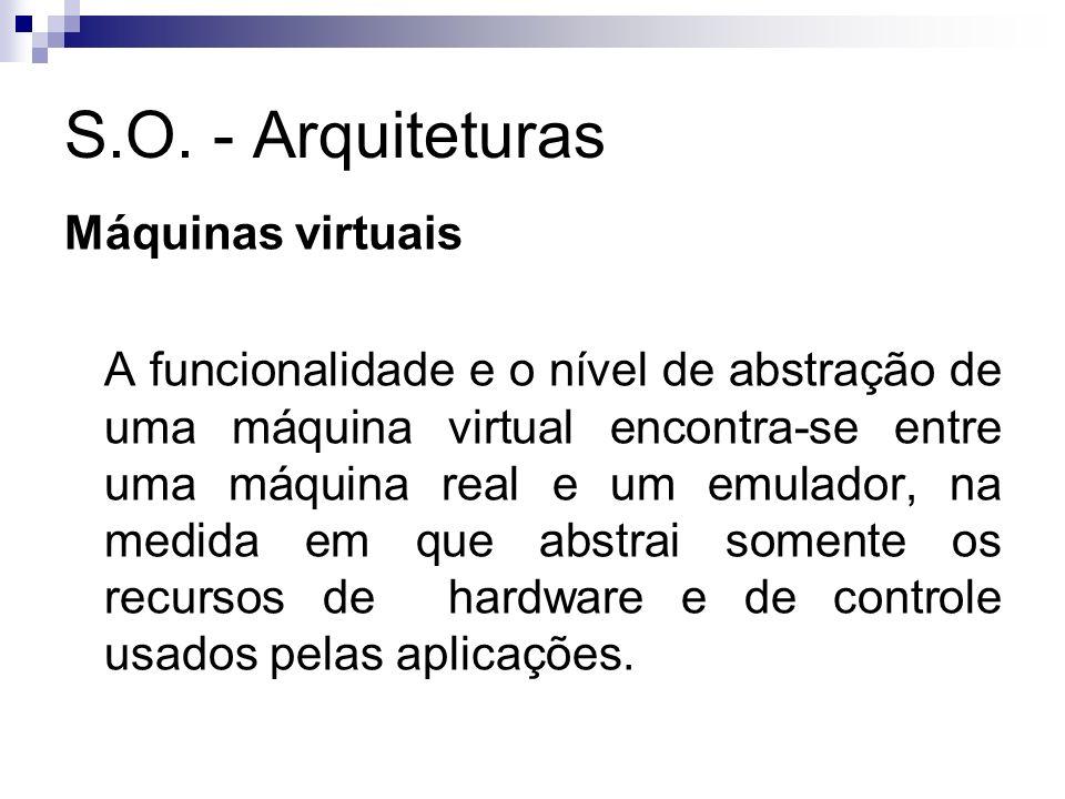 S.O. - Arquiteturas Máquinas virtuais A funcionalidade e o nível de abstração de uma máquina virtual encontra-se entre uma máquina real e um emulador,