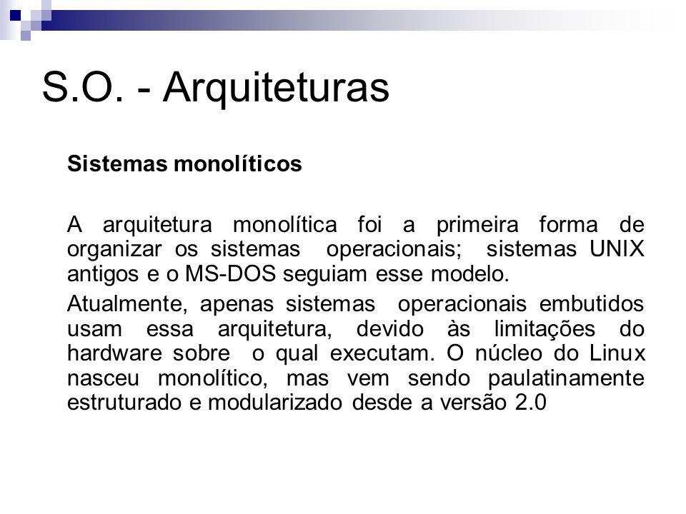 S.O. - Arquiteturas Sistemas monolíticos A arquitetura monolítica foi a primeira forma de organizar os sistemas operacionais; sistemas UNIX antigos e