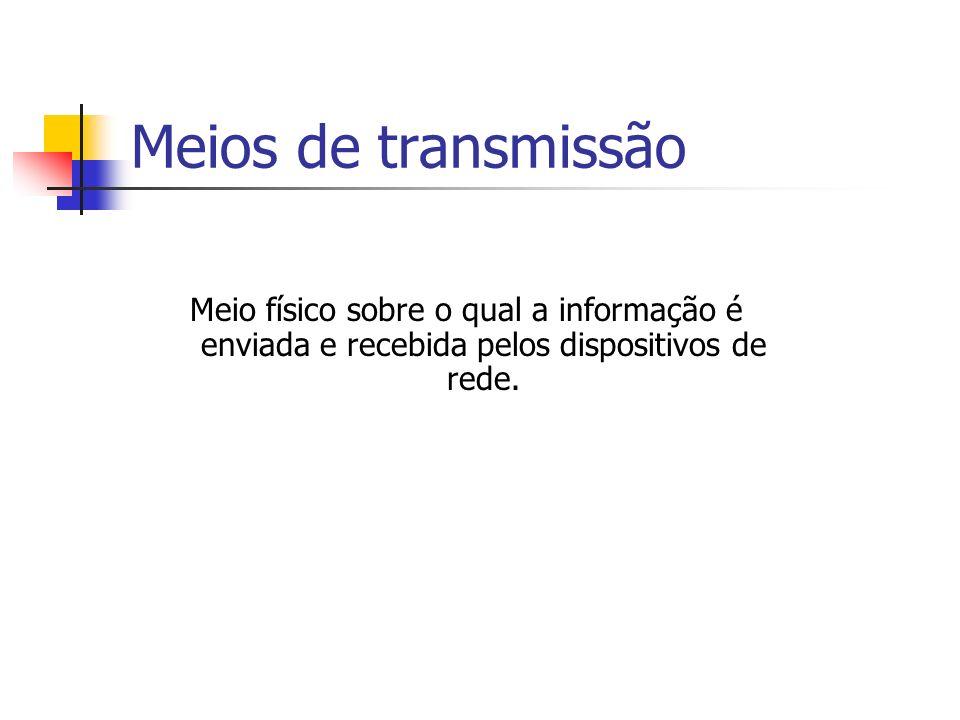 Meios de transmissão Meio físico sobre o qual a informação é enviada e recebida pelos dispositivos de rede.