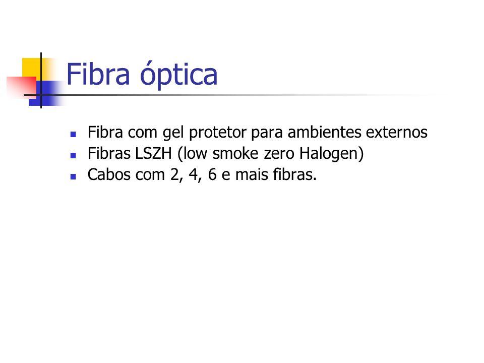 Fibra óptica Fibra com gel protetor para ambientes externos Fibras LSZH (low smoke zero Halogen) Cabos com 2, 4, 6 e mais fibras.