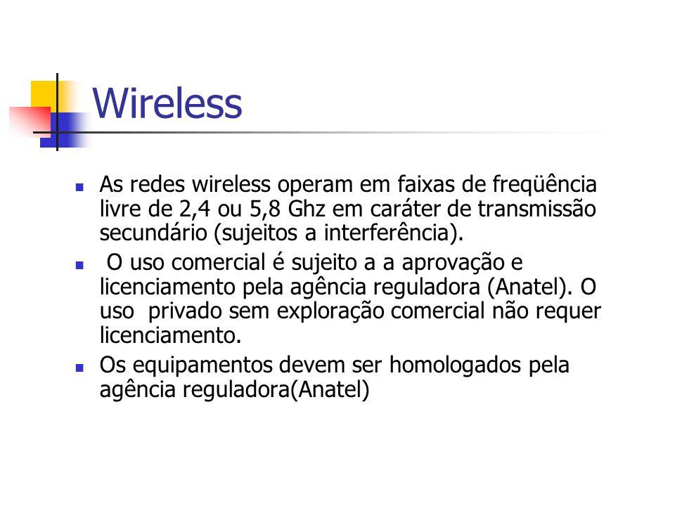 Wireless As redes wireless operam em faixas de freqüência livre de 2,4 ou 5,8 Ghz em caráter de transmissão secundário (sujeitos a interferência). O u