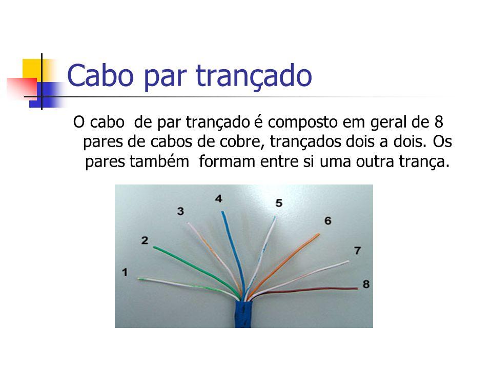 Cabo par trançado O cabo de par trançado é composto em geral de 8 pares de cabos de cobre, trançados dois a dois. Os pares também formam entre si uma