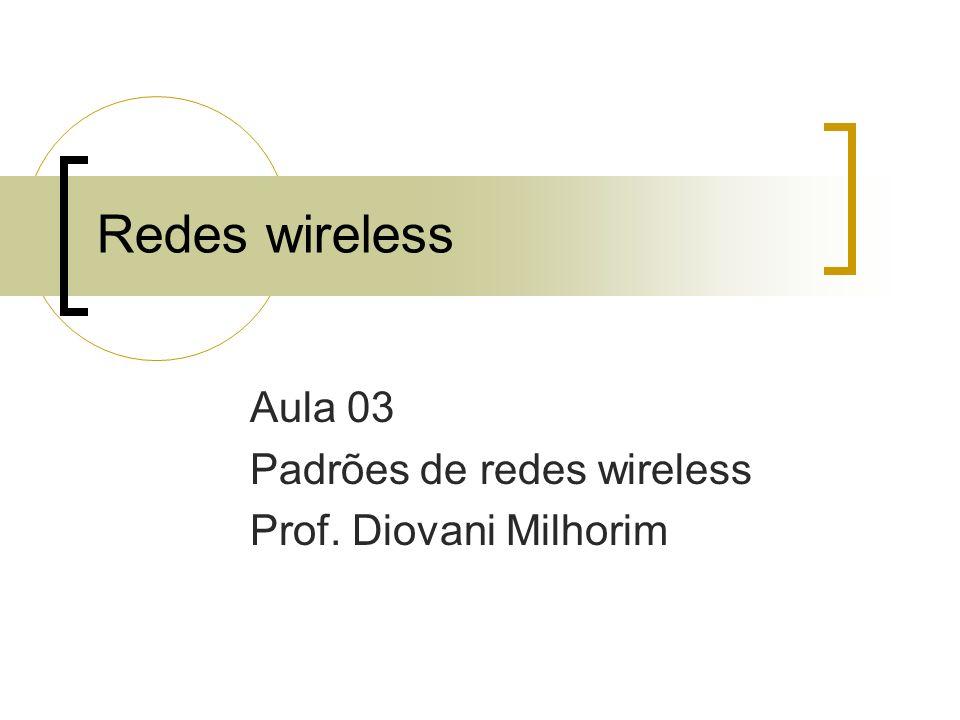 Redes wireless Aula 03 Padrões de redes wireless Prof. Diovani Milhorim