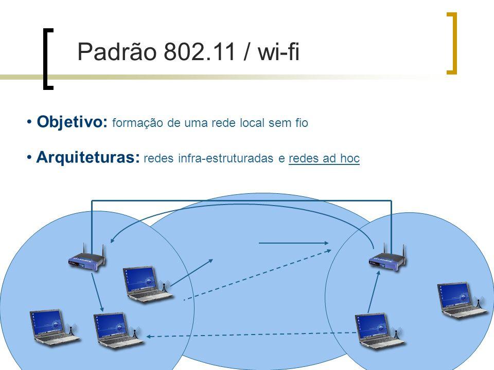 Objetivo: formação de uma rede local sem fio Arquiteturas: redes infra-estruturadas e redes ad hoc Padrão 802.11 / wi-fi