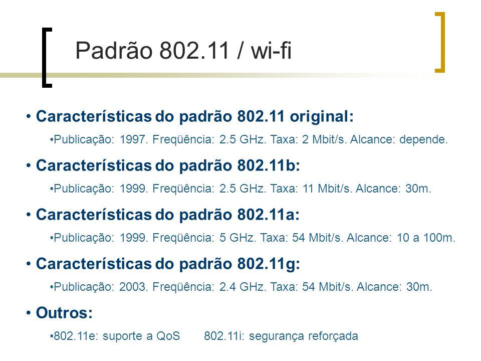 Características do padrão 802.11 original: Publicação: 1997.
