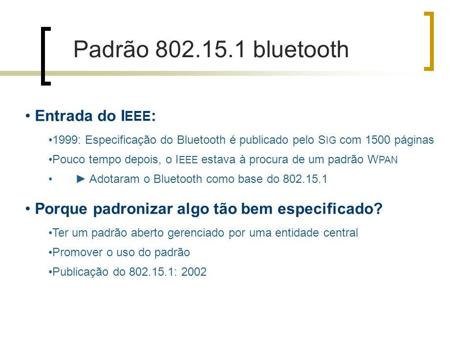 Entrada do I EEE : 1999: Especificação do Bluetooth é publicado pelo S IG com 1500 páginas Pouco tempo depois, o I EEE estava à procura de um padrão W PAN Adotaram o Bluetooth como base do 802.15.1 Porque padronizar algo tão bem especificado.