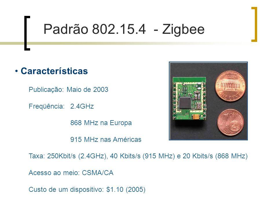 Características Publicação: Maio de 2003 Freqüência: 2.4GHz 868 MHz na Europa 915 MHz nas Américas Taxa: 250Kbit/s (2.4GHz), 40 Kbits/s (915 MHz) e 20 Kbits/s (868 MHz) Acesso ao meio: CSMA/CA Custo de um dispositivo: $1.10 (2005) Padrão 802.15.4 - Zigbee