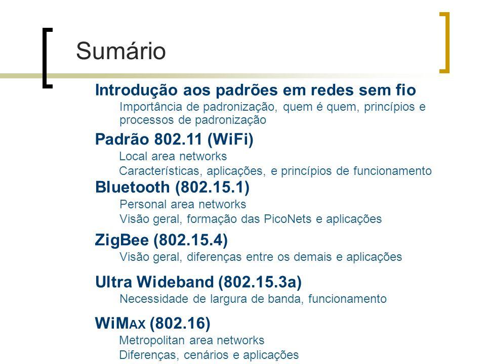 Introdução aos padrões em redes sem fio Importância de padronização, quem é quem, princípios e processos de padronização Padrão 802.11 (WiFi) Local area networks Características, aplicações, e princípios de funcionamento Bluetooth (802.15.1) Personal area networks Visão geral, formação das PicoNets e aplicações ZigBee (802.15.4) Visão geral, diferenças entre os demais e aplicações Ultra Wideband (802.15.3a) Necessidade de largura de banda, funcionamento WiM AX (802.16) Metropolitan area networks Diferenças, cenários e aplicações Sumário