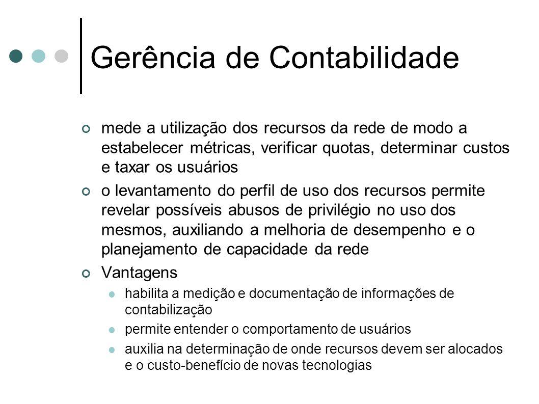 Gerência de Contabilidade mede a utilização dos recursos da rede de modo a estabelecer métricas, verificar quotas, determinar custos e taxar os usuári