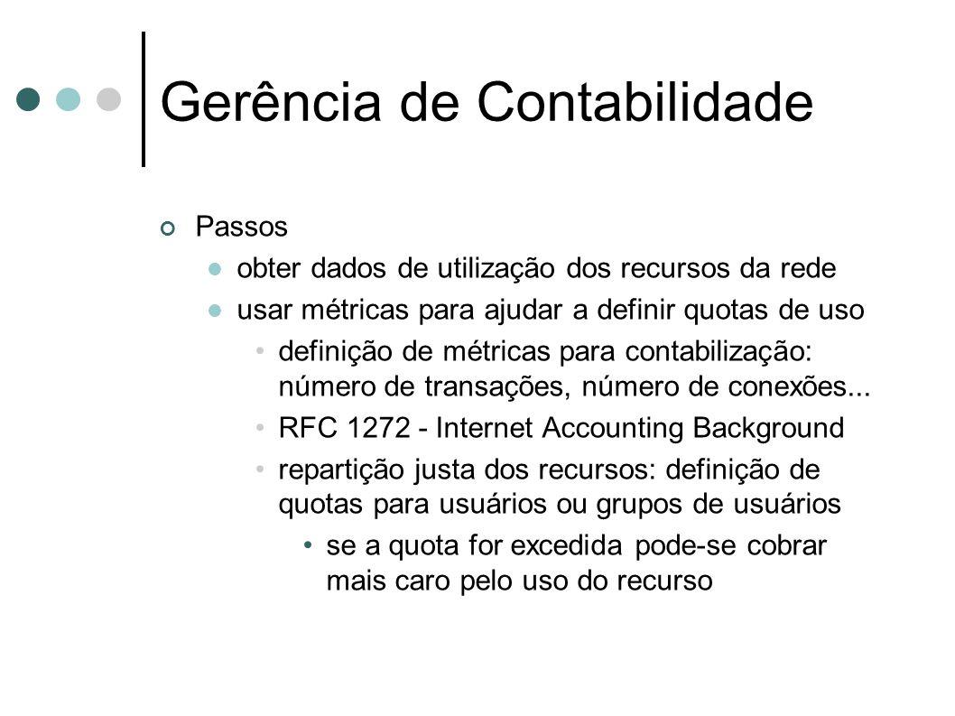 Gerência de Contabilidade Passos obter dados de utilização dos recursos da rede usar métricas para ajudar a definir quotas de uso definição de métrica