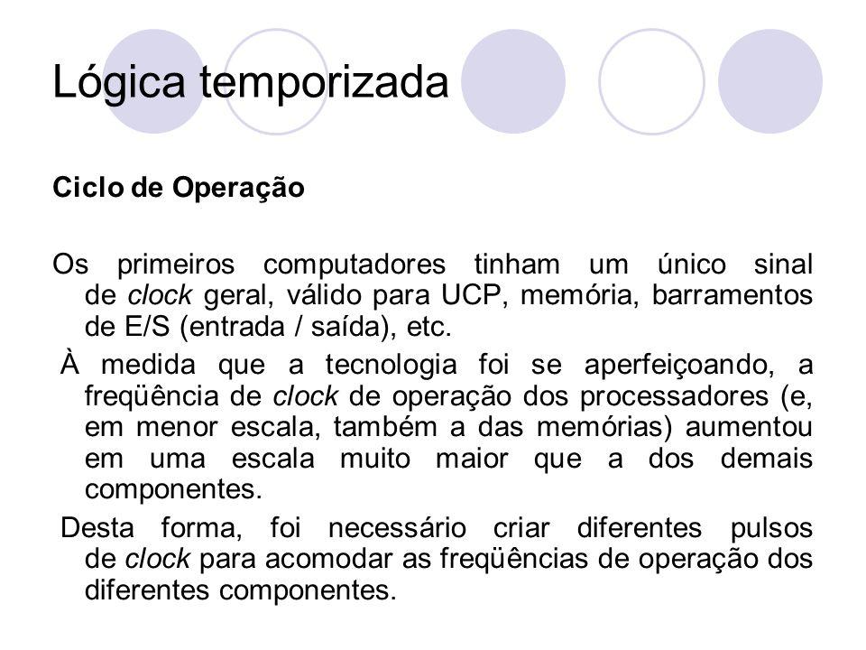 Lógica temporizada Ciclo de Operação Os primeiros computadores tinham um único sinal de clock geral, válido para UCP, memória, barramentos de E/S (ent