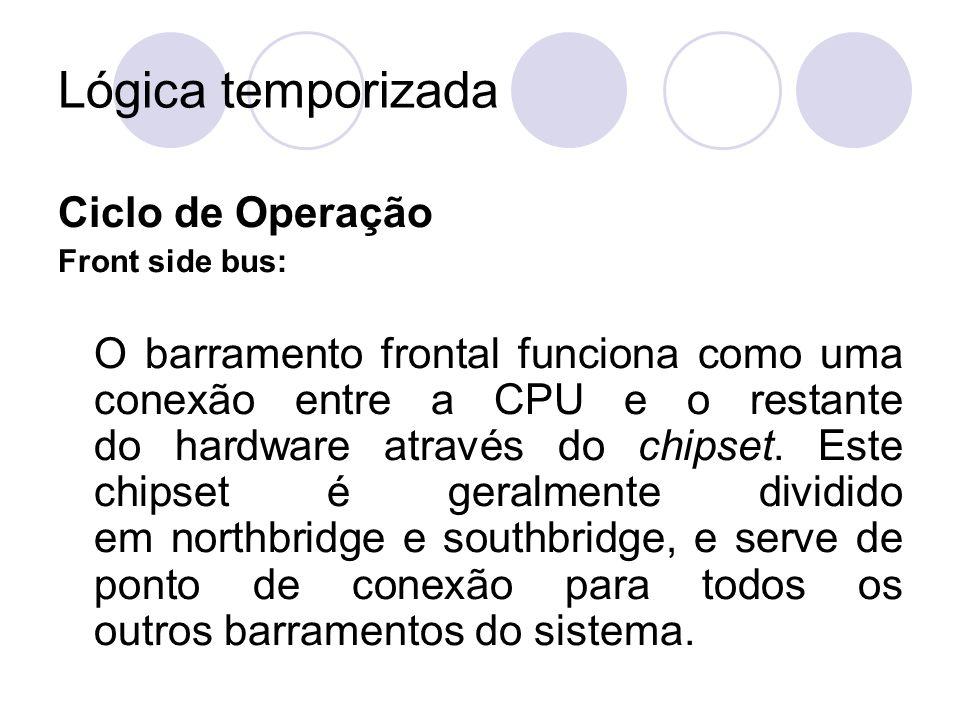 Lógica temporizada Ciclo de Operação Front side bus: O barramento frontal funciona como uma conexão entre a CPU e o restante do hardware através do ch