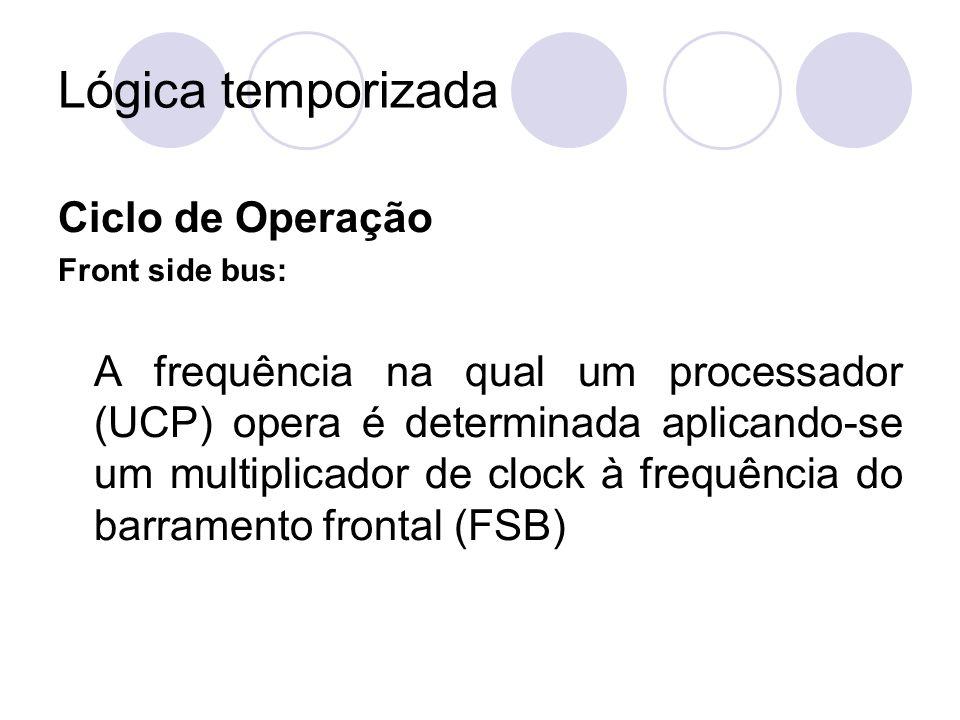 Lógica temporizada Ciclo de Operação Front side bus: A frequência na qual um processador (UCP) opera é determinada aplicando-se um multiplicador de cl