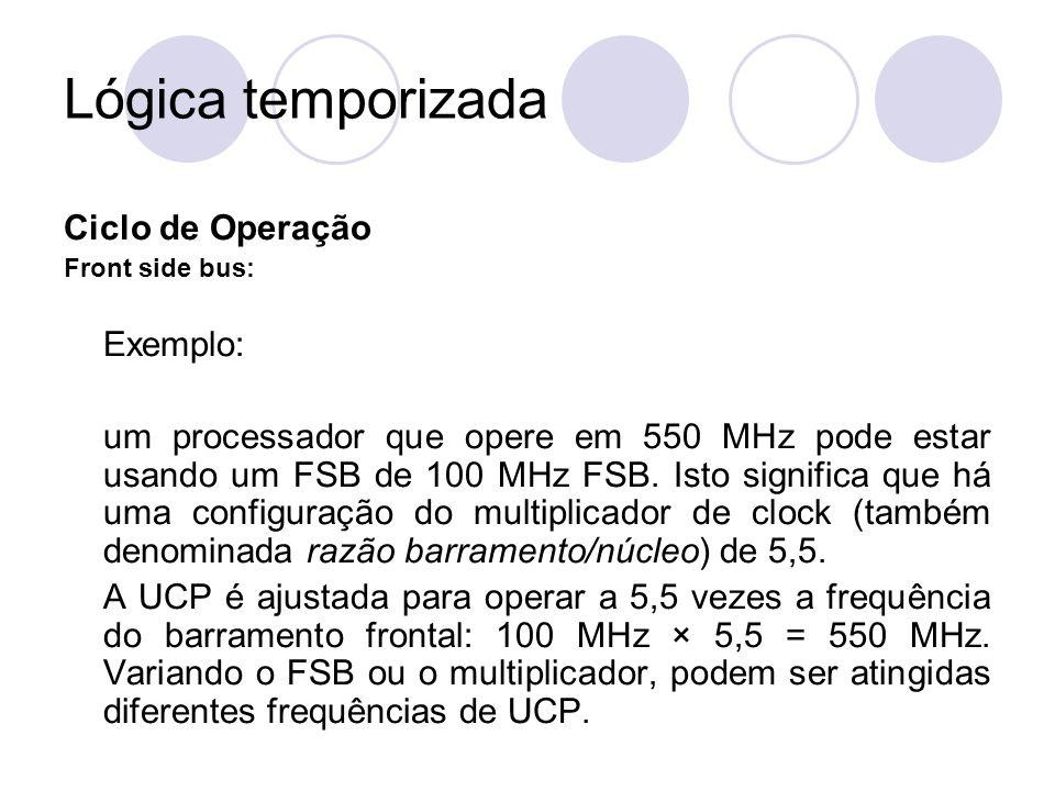 Lógica temporizada Ciclo de Operação Front side bus: Exemplo: um processador que opere em 550 MHz pode estar usando um FSB de 100 MHz FSB. Isto signif