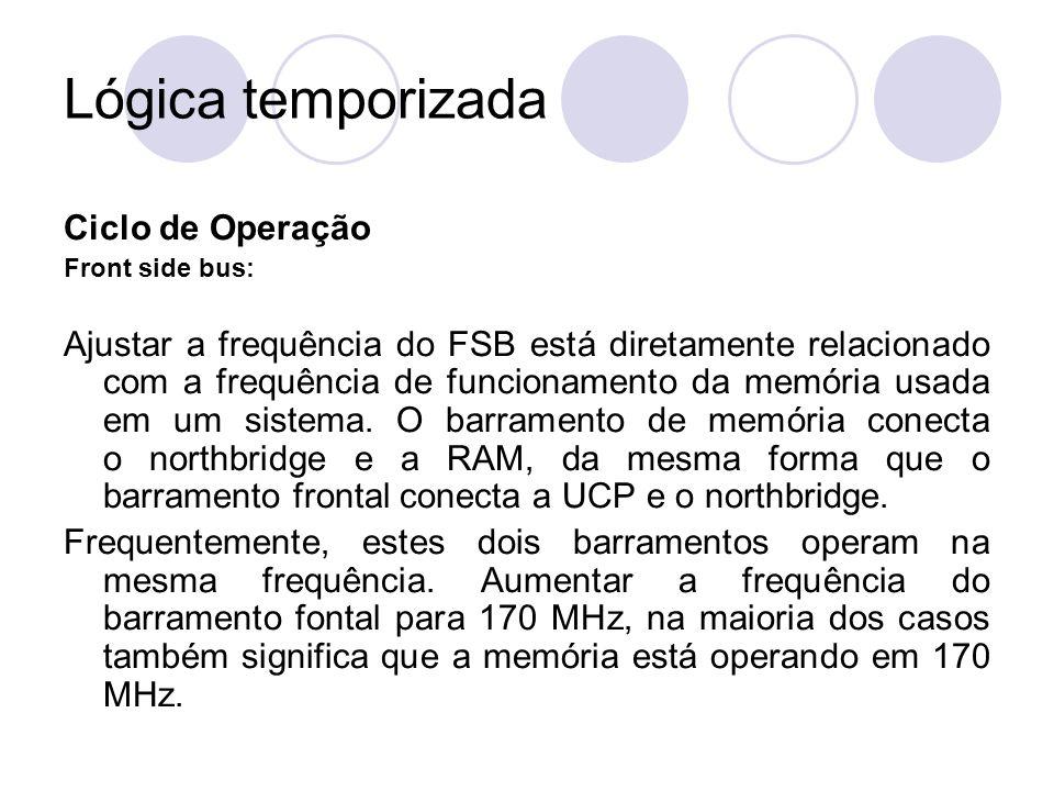 Lógica temporizada Ciclo de Operação Front side bus: Ajustar a frequência do FSB está diretamente relacionado com a frequência de funcionamento da mem