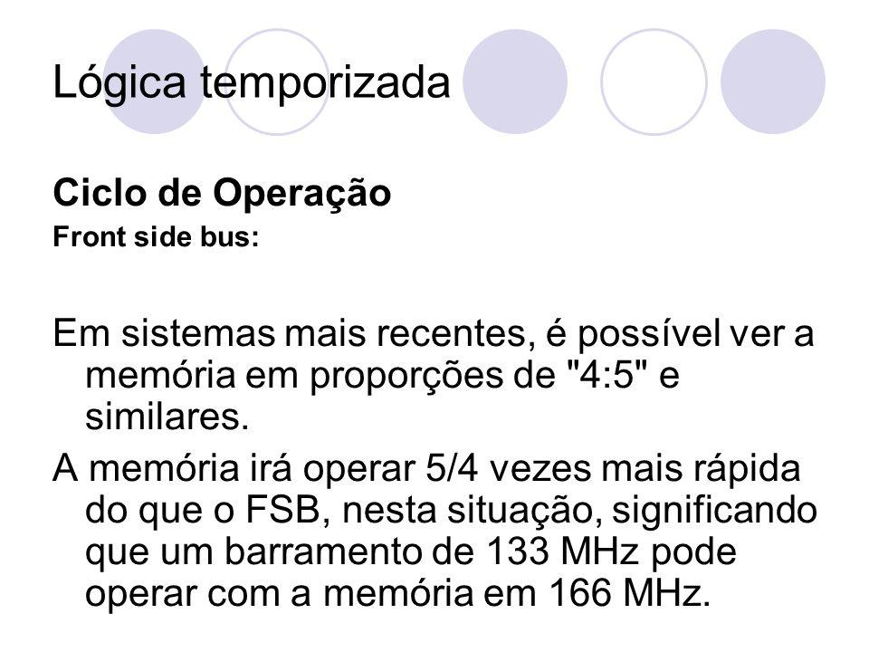 Lógica temporizada Ciclo de Operação Front side bus: Em sistemas mais recentes, é possível ver a memória em proporções de