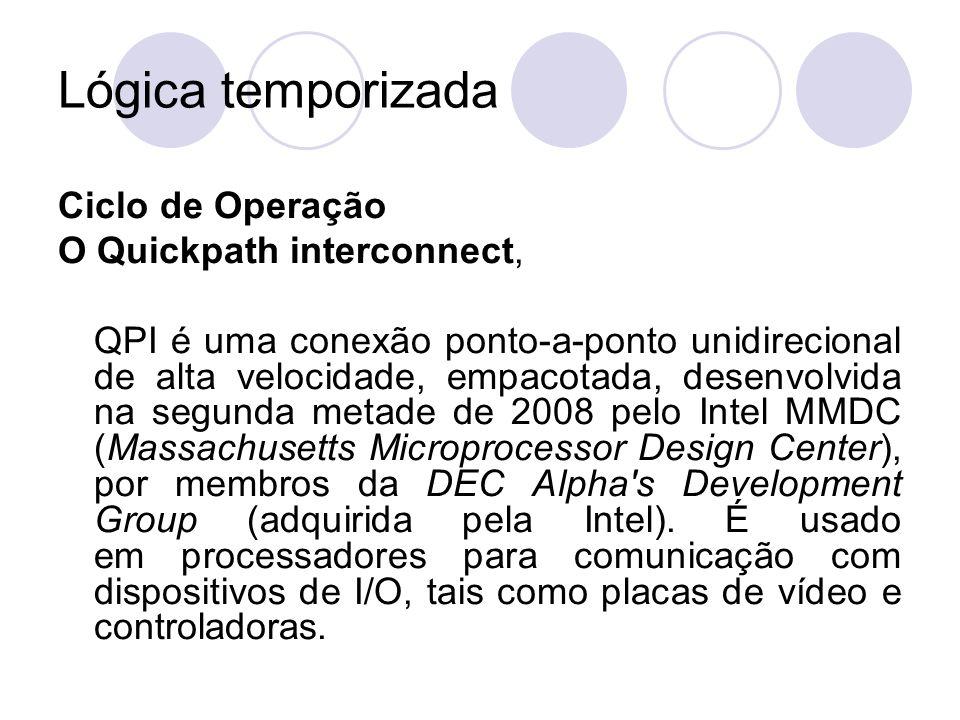 Lógica temporizada Ciclo de Operação O Quickpath interconnect, QPI é uma conexão ponto-a-ponto unidirecional de alta velocidade, empacotada, desenvolv